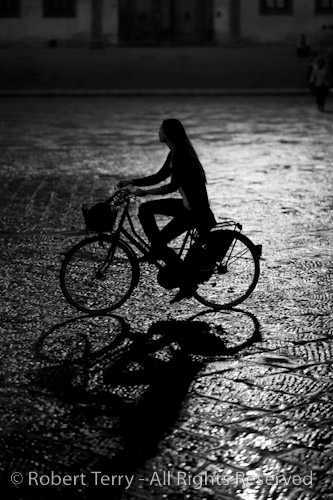Florence, Italy Night Street Scene - B & W