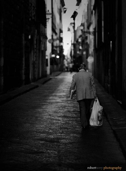 Florence, Italy Street Scene - B & W